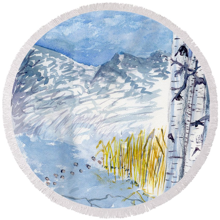Winter #blue Blue Victor Vosen Watercolor Birch Trees Snow Ice Landscape Round Beach Towel featuring the painting Without Borders by Victor Vosen