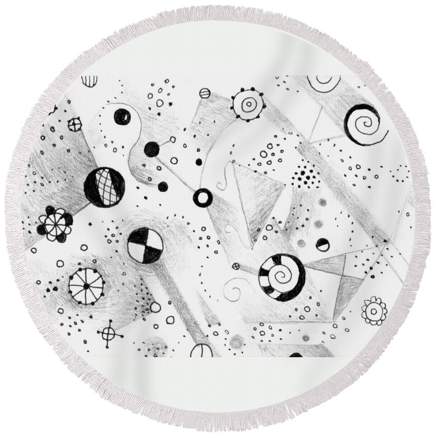Abstract.surreal Round Beach Towel featuring the drawing Without Gravity by Helena Tiainen