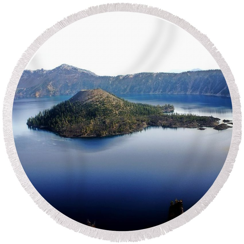 Crater Lake Round Beach Towel featuring the photograph Wizard Island 1 by Marty Koch
