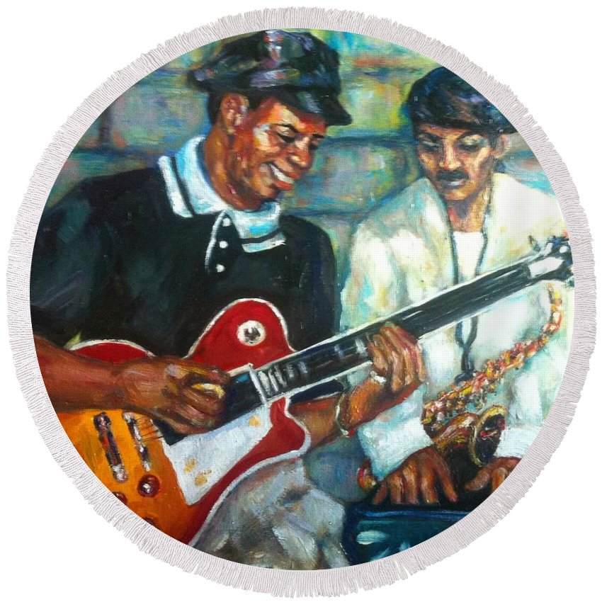 Guitar Round Beach Towel featuring the painting Wolfman by Beverly Boulet