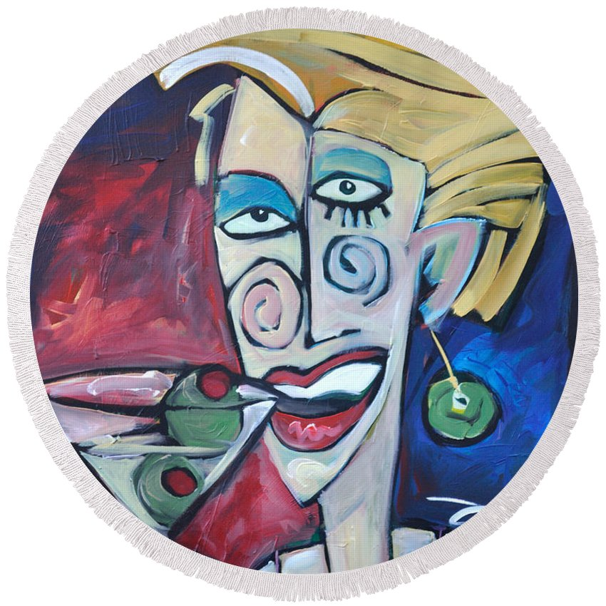Martini Round Beach Towel featuring the painting Woman At Martini Bar by Tim Nyberg