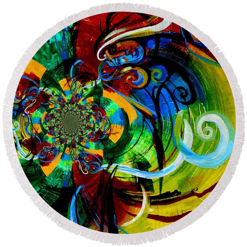 Woman Round Beach Towel featuring the painting Woman Bass Kaleidoscope by Genevieve Esson