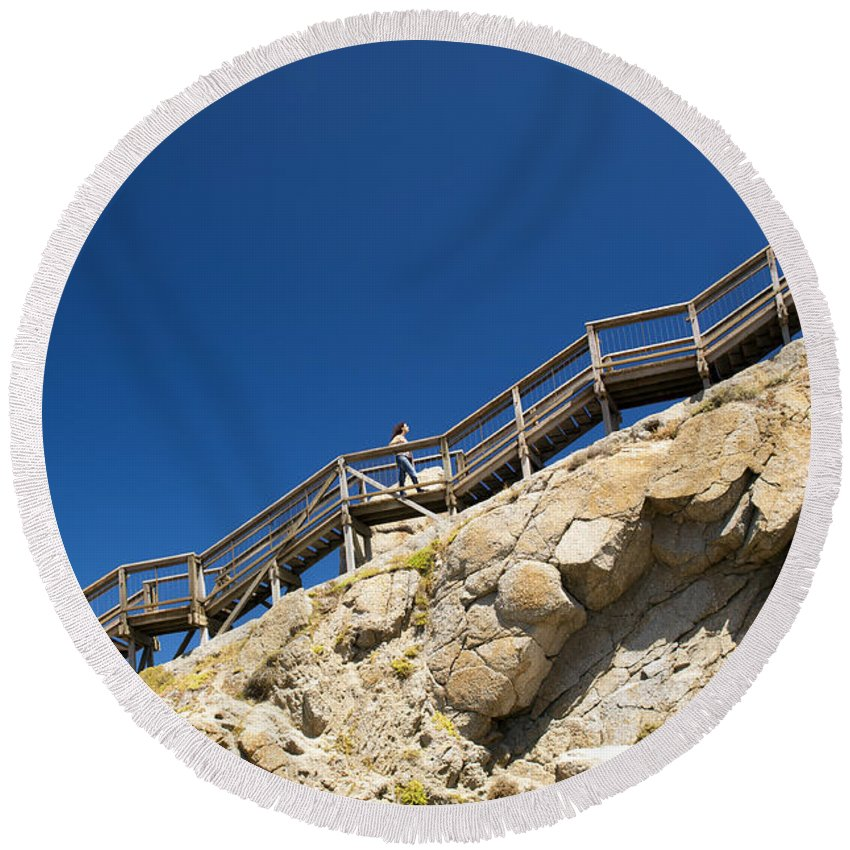 South Australia Round Beach Towel featuring the photograph Woman Climbing Stairs by Tim Hester
