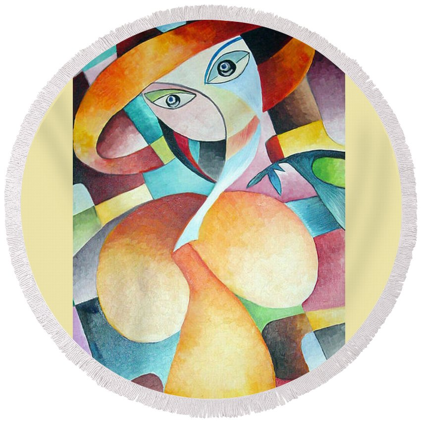 Woman Round Beach Towel featuring the painting Woman by Dorothy Maier
