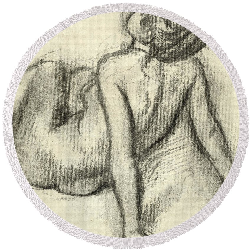 Degas Round Beach Towel featuring the drawing Woman Having Her Hair Styled by Edgar Degas