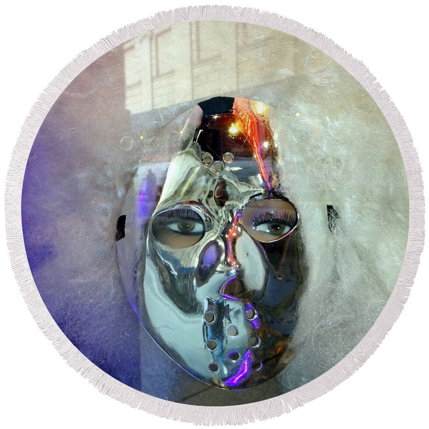 Mannequins Round Beach Towel featuring the photograph Woman In Silver Mask by Ed Weidman