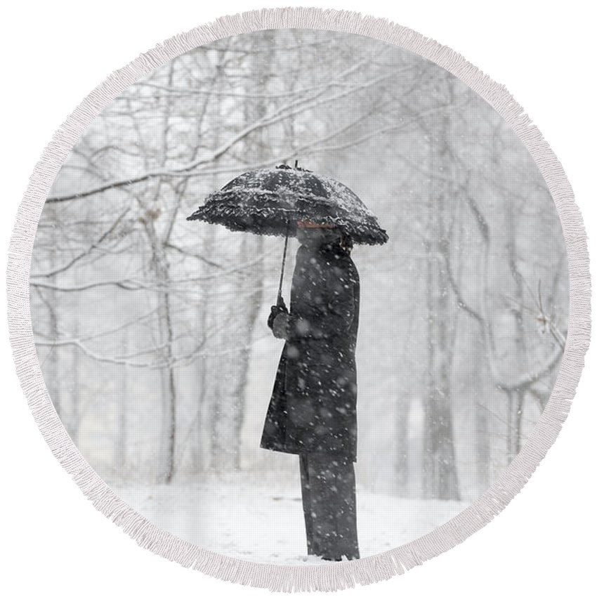Woman Round Beach Towel featuring the photograph Woman In The Forest With An Umbrella by Mats Silvan