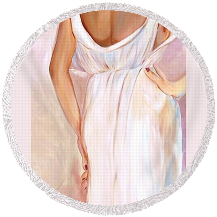 Woman Round Beach Towel featuring the painting Woman In White by Debi Starr