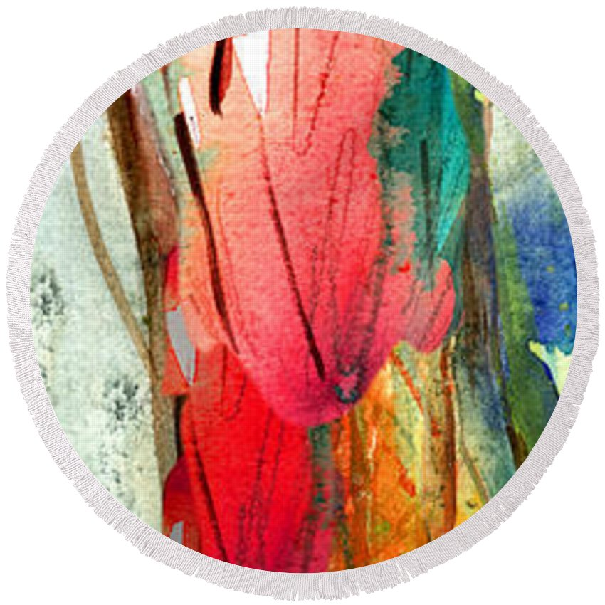 Fantascapes Round Beach Towel featuring the painting Woman Power Diptych 01 by Miki De Goodaboom
