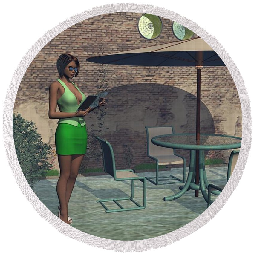 Digital Art Round Beach Towel featuring the digital art Woman Reading A Menu At A Street Cafe by Michael Wimer