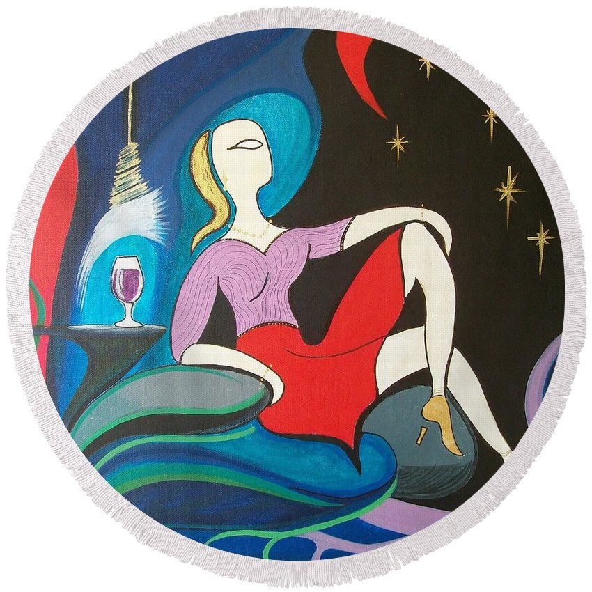 Abstract Round Beach Towel featuring the painting Woman Reclined In Chair by John Lyes