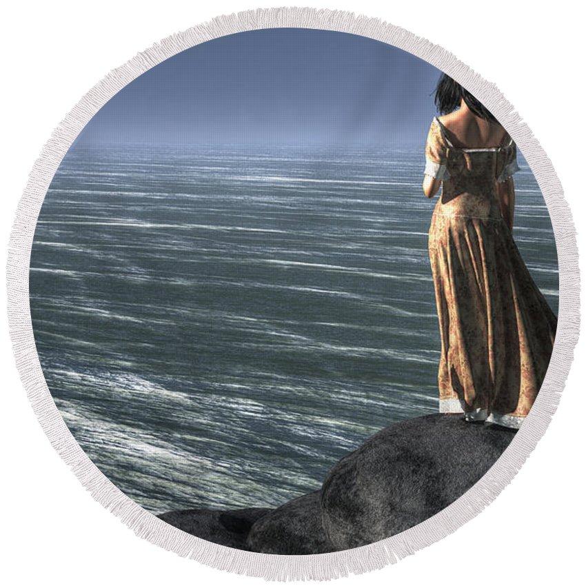 Woman Watching A Ship Sailing Away Round Beach Towel featuring the digital art Woman Watching A Ship Sailing Away by Daniel Eskridge