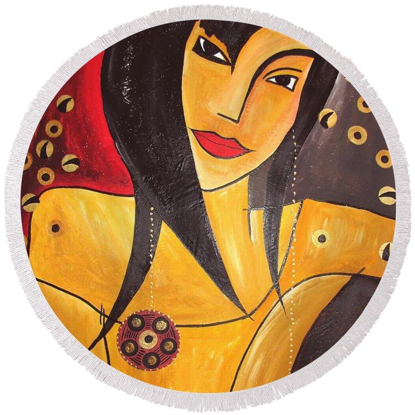 Graphics Round Beach Towel featuring the painting Women 0448 Marucii by Marek Lutek