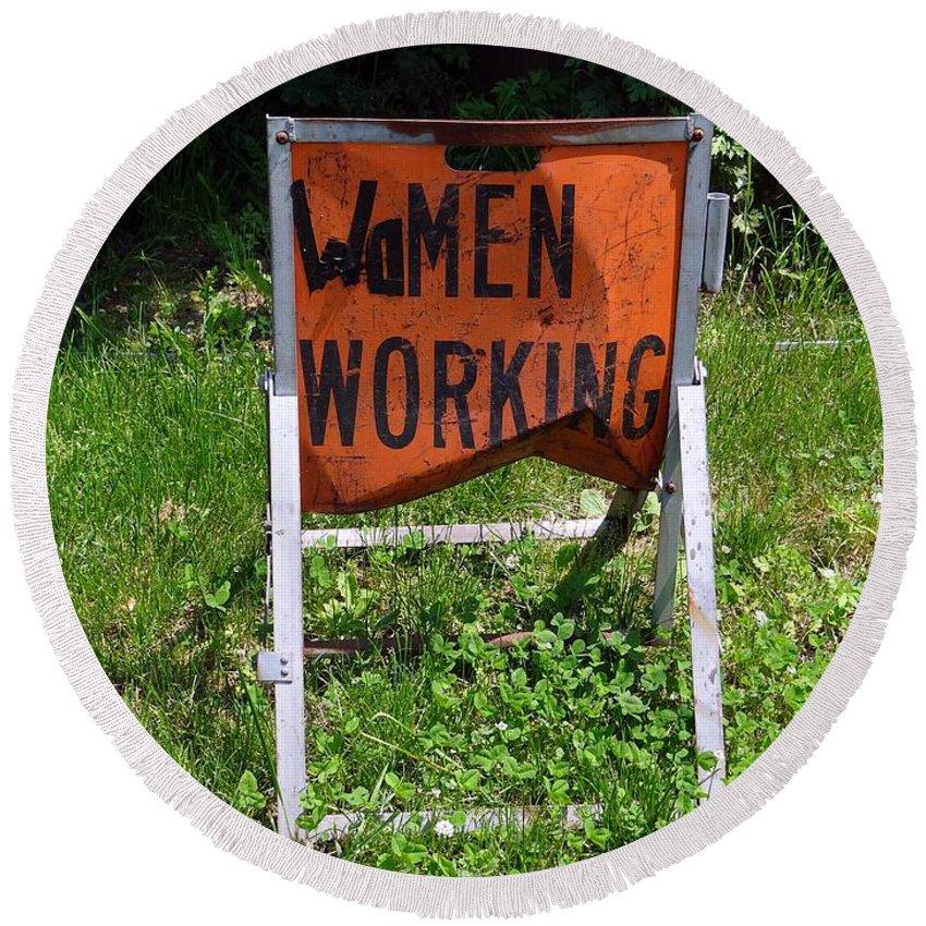 Working Women Round Beach Towel featuring the photograph Women Working by Ed Weidman