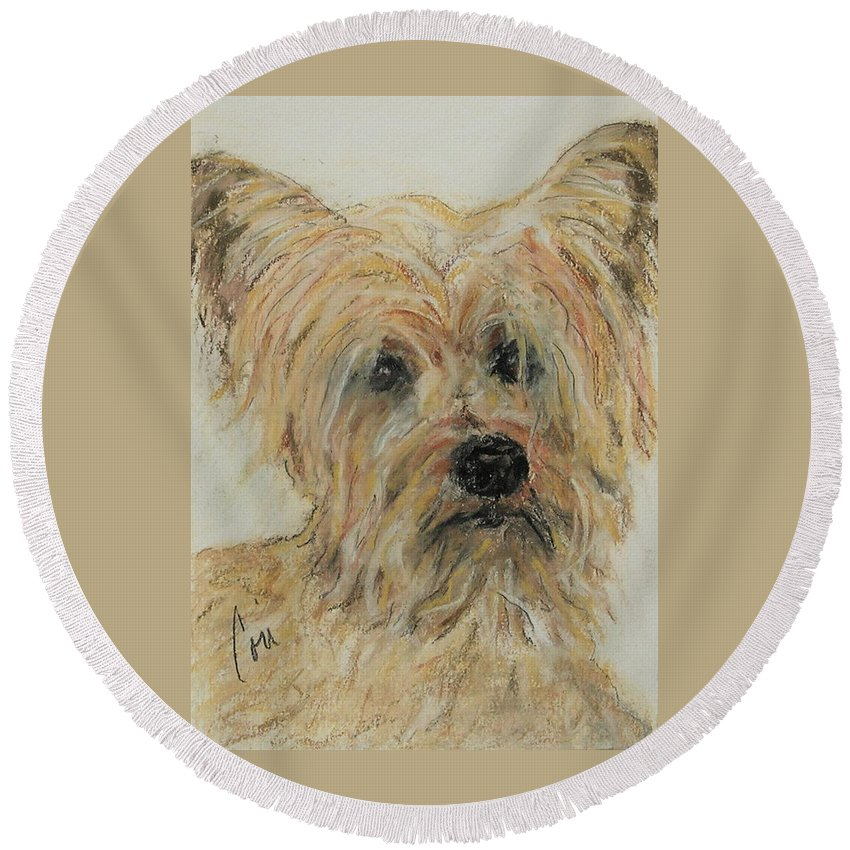 Terrier Round Beach Towel featuring the drawing Wonder-ful by Cori Solomon