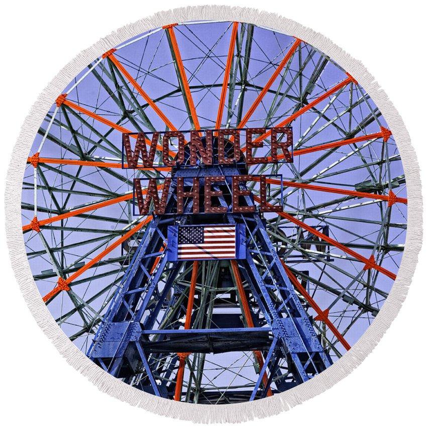 Wonder Wheel Round Beach Towel featuring the photograph Wonder Wheel 2013 - Coney Island - Brooklyn - New York by Madeline Ellis