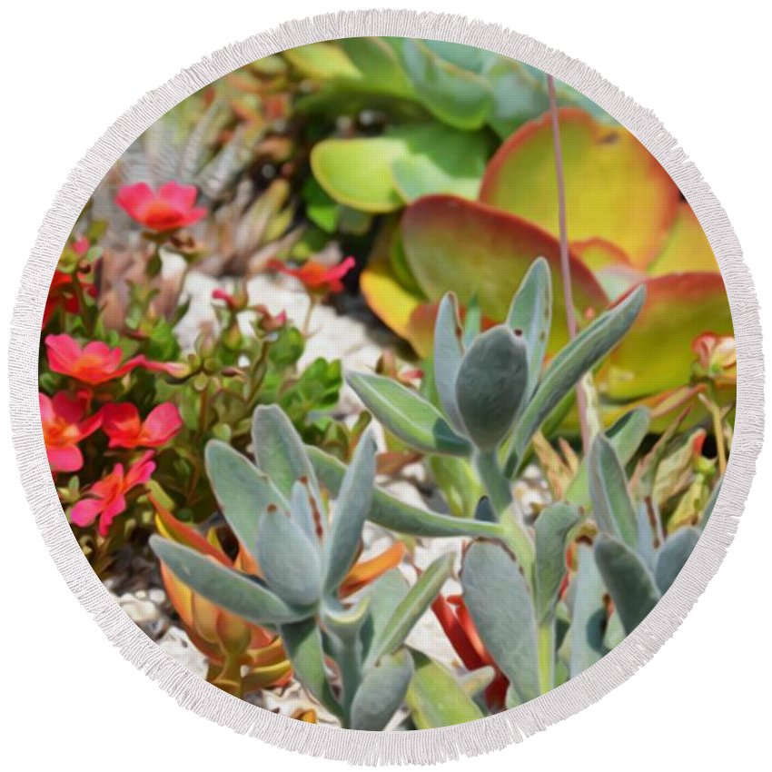 Plant Round Beach Towel featuring the painting Wonderful Succulent Plants 2 by Jeelan Clark