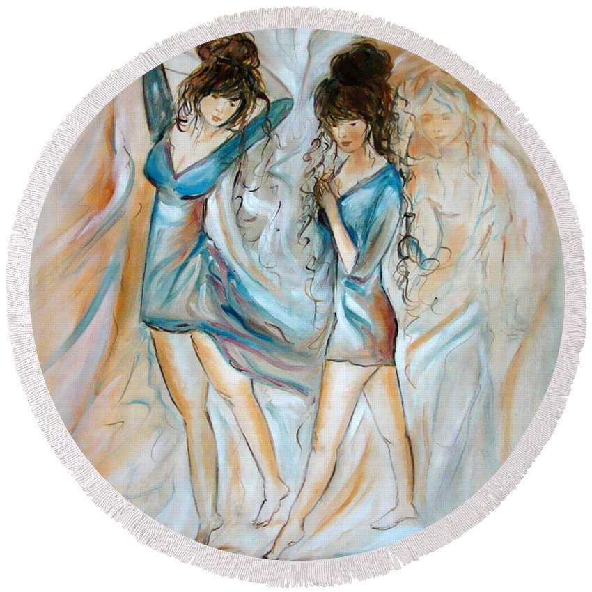 Contemporary Art Round Beach Towel featuring the painting Wondering by Silvana Abel