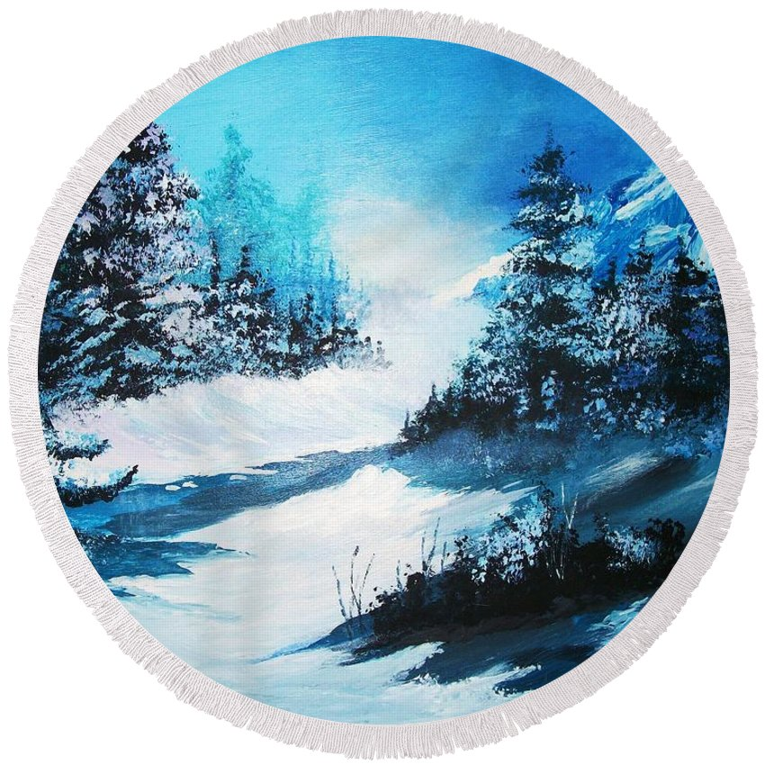Landscapes Round Beach Towel featuring the painting Wonders Of Winter by Al Brown