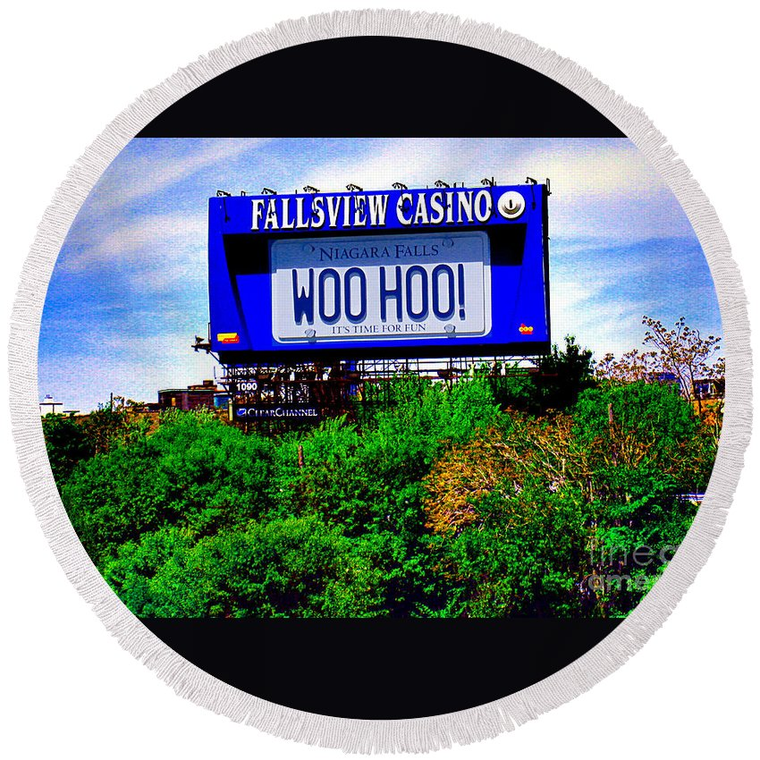 Casino Round Beach Towel featuring the photograph Woo Hoo by Nina Silver
