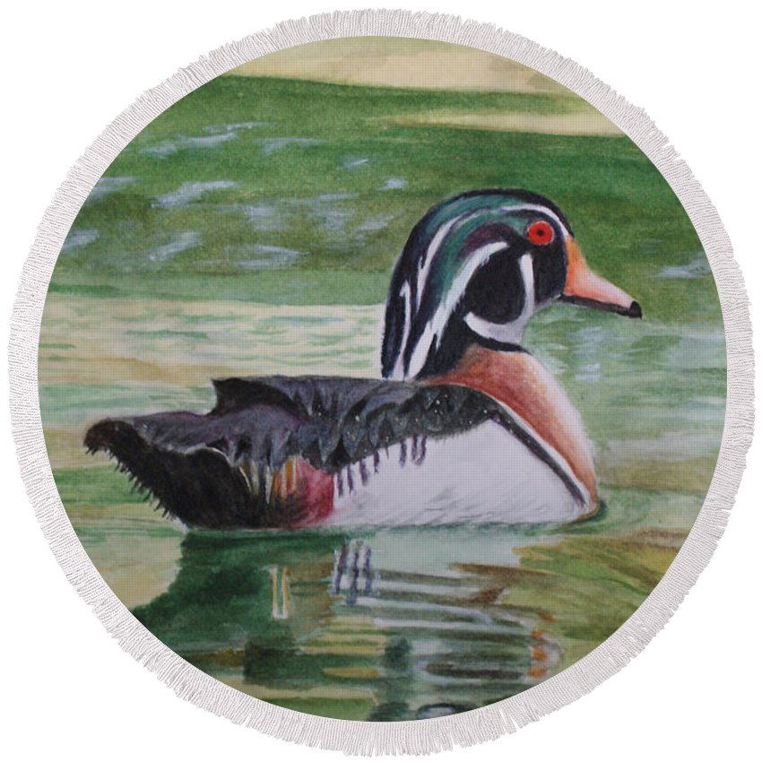 Duck Round Beach Towel featuring the painting Wood Duck by Jill Ciccone Pike