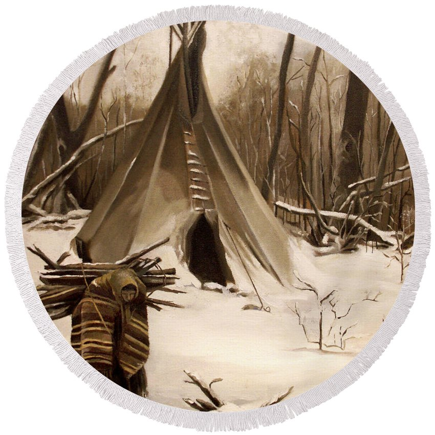Native American Round Beach Towel featuring the painting Wood Gatherer by Nancy Griswold