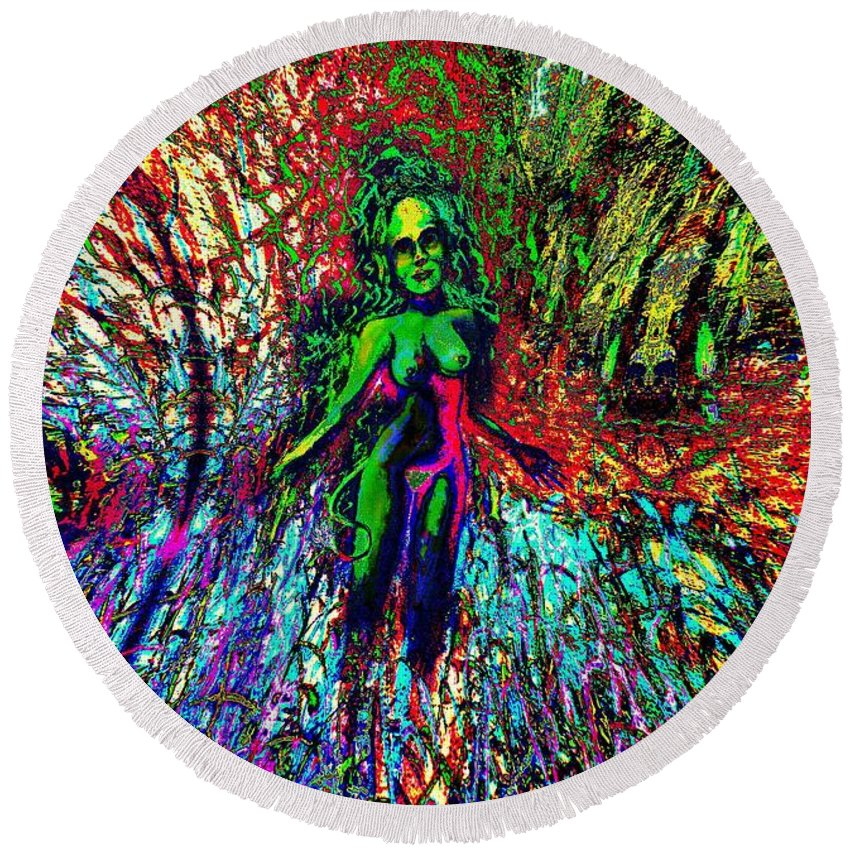 Genio Round Beach Towel featuring the mixed media Wood Nymph With Her Power Of Magic by Genio GgXpress