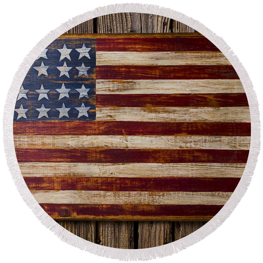 Wooden Round Beach Towel featuring the photograph Wooden American Flag On Wood Wall by Garry Gay