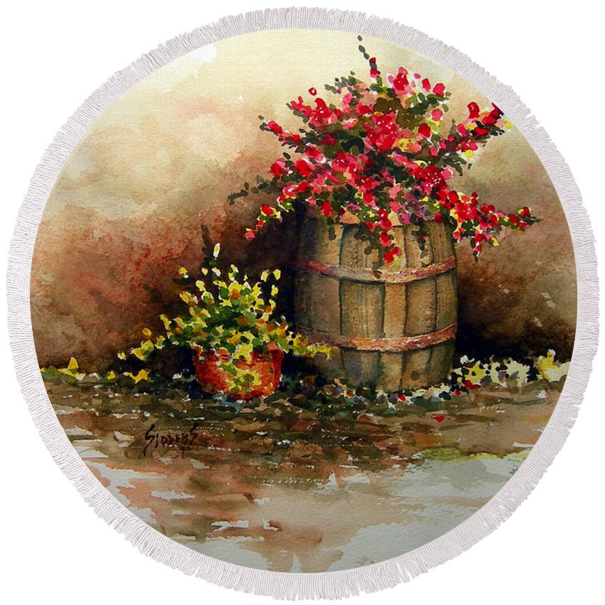 Barrel Round Beach Towel featuring the painting Wooden Barrel with Flowers by Sam Sidders