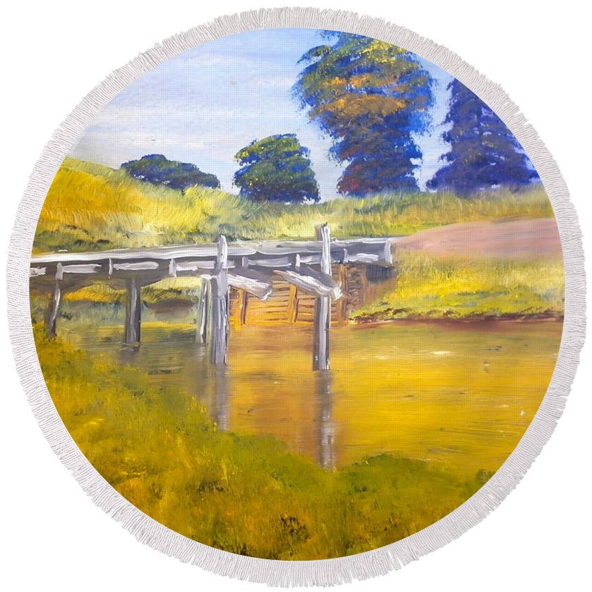 Impressionist Round Beach Towel featuring the painting Wooden Bridge At Graften by Pamela Meredith