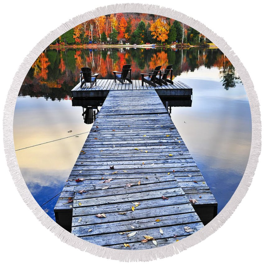 Lake Round Beach Towel featuring the photograph Wooden Dock On Autumn Lake by Elena Elisseeva
