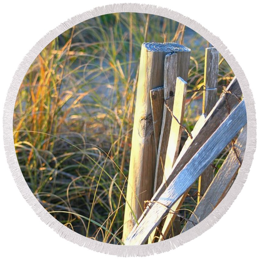 Post Round Beach Towel featuring the photograph Wooden Post And Fence At The Beach by Nadine Rippelmeyer