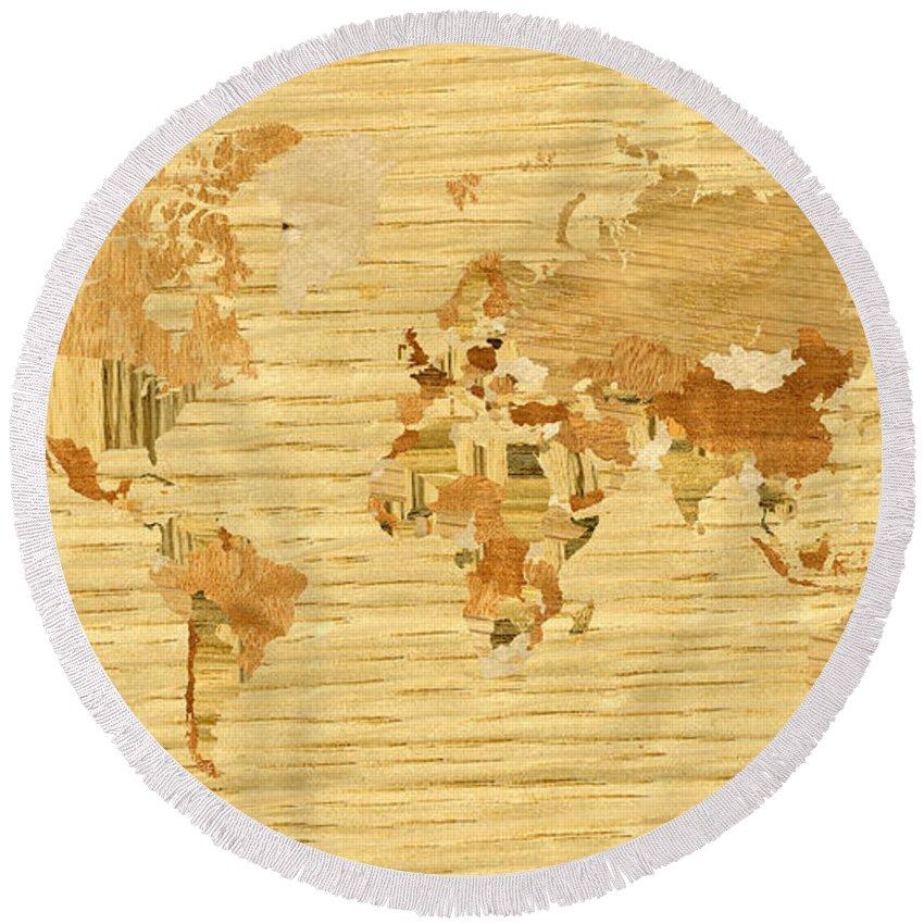 World Round Beach Towel featuring the digital art Wooden World Map 2 by Hakon Soreide