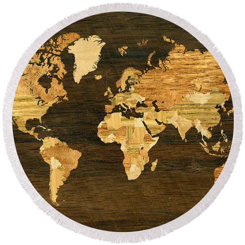Wooden world map round beach towel for sale by hakon soreide world round beach towel featuring the digital art wooden world map by hakon soreide gumiabroncs Gallery