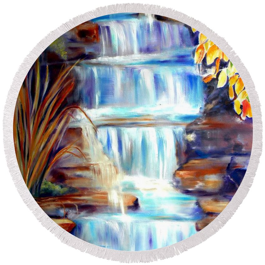 Waterfall Round Beach Towel featuring the painting Woodland Oasis by Sandy Ryan