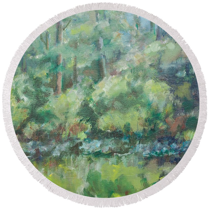 Woods Round Beach Towel featuring the painting Woodland Pond by Sarah Parks