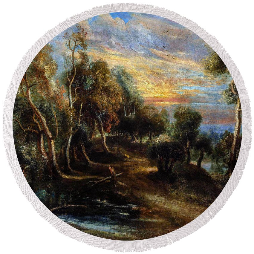 Woodland Round Beach Towel featuring the painting Woodland Scenery by Viktor Birkus