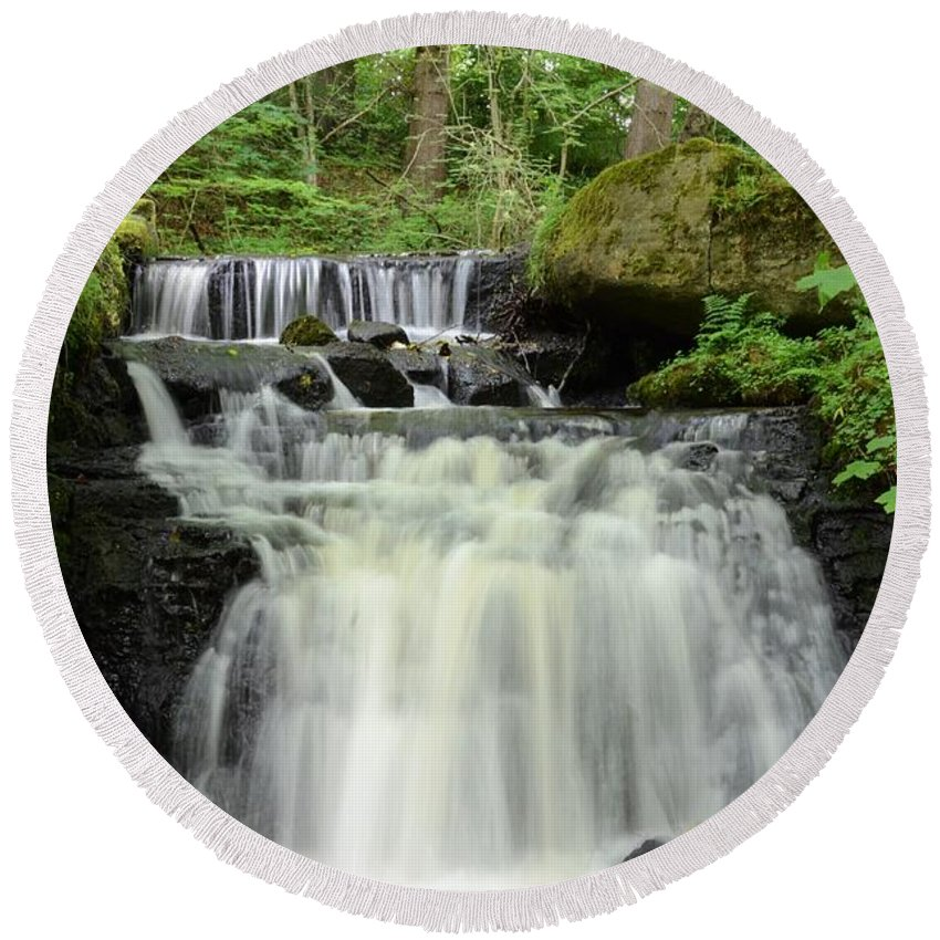 Wood Round Beach Towel featuring the photograph Woodland Waterfall by Malcolm Snook