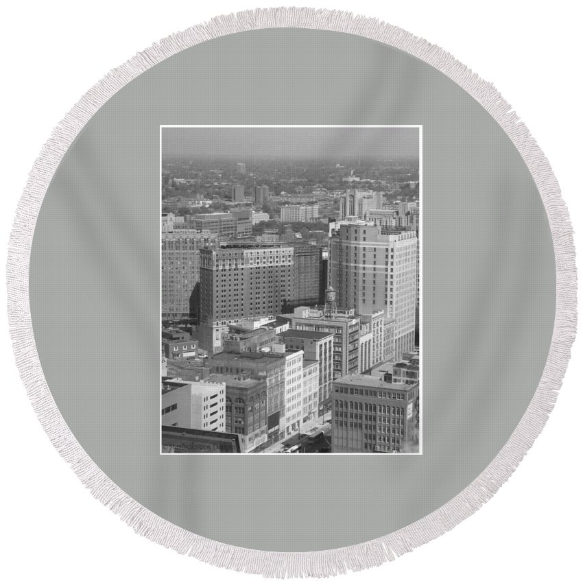 Detroit Round Beach Towel featuring the photograph Woodward Avenue Bw by Crystal Hubbard