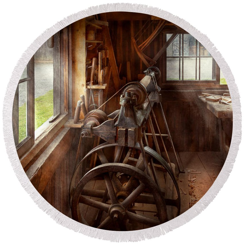 Steampunk Round Beach Towel featuring the photograph Woodworker - The Art Of Lathing by Mike Savad