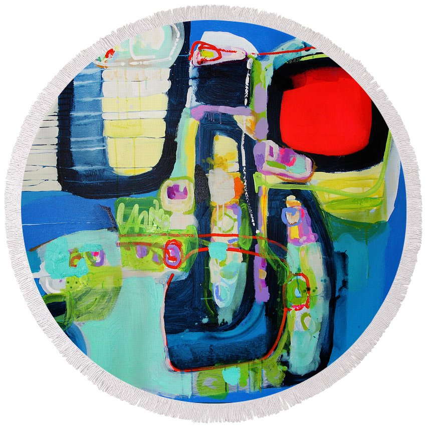 Abstract Round Beach Towel featuring the painting Work It Out by Claire Desjardins
