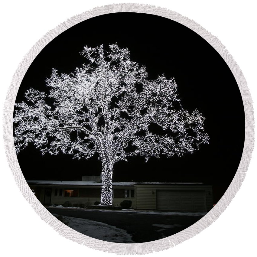 Christmas Lights Round Beach Towel featuring the photograph Work Of Art by Amanda Stadther