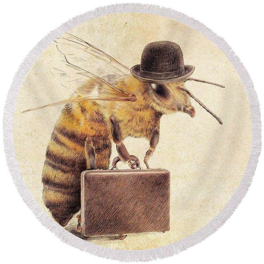 Honey Bee Round Beach Towels