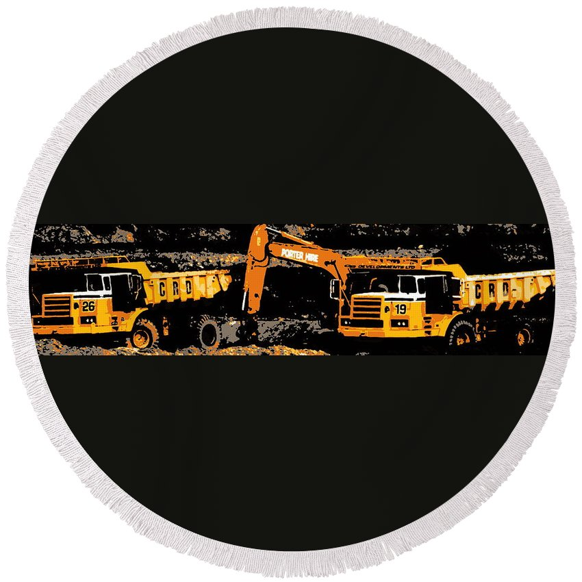 Dump Truck Digger Civil Engineering Industry Machinery Road Bypass Round Beach Towel featuring the photograph Workin' On The Highway by Guy Pettingell