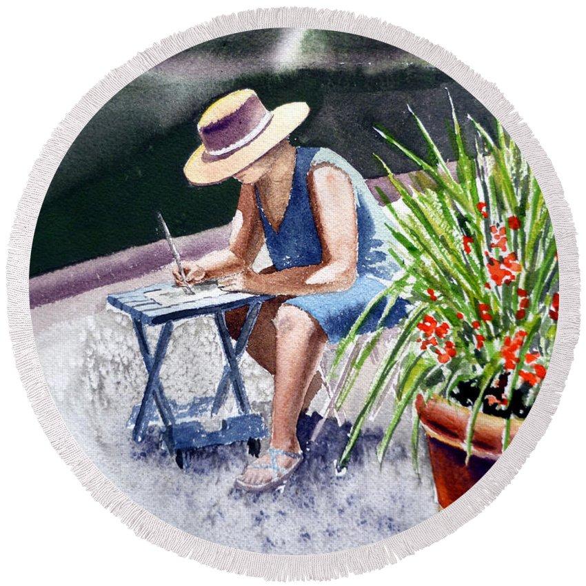 Artist Round Beach Towel featuring the painting Working Artist by Irina Sztukowski