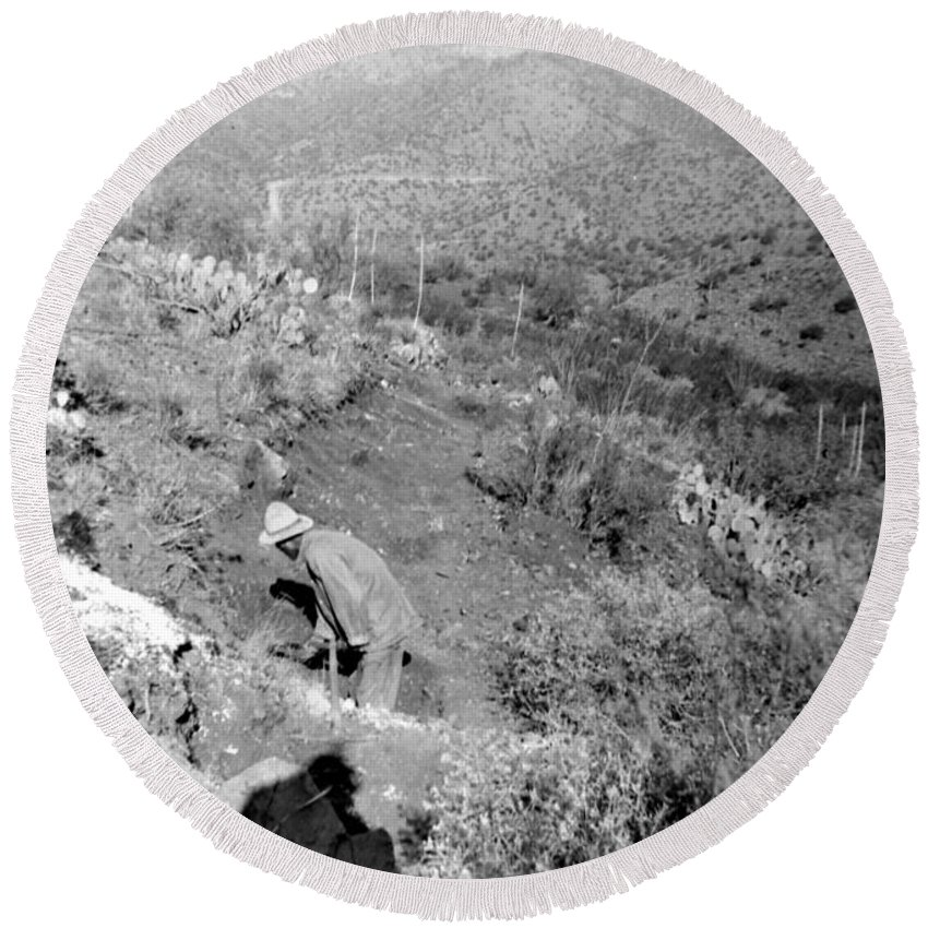 Photograph By My Grand Father Taken In Arizona In The 1940's. This Is A Digital Photgraph Of The Negative. Round Beach Towel featuring the photograph Working The Mine by Larry Ward
