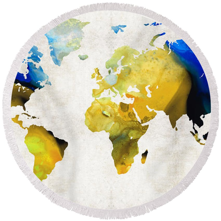 Map Round Beach Towel featuring the painting World Map 16 - Yellow And Blue Art By Sharon Cummings by Sharon Cummings