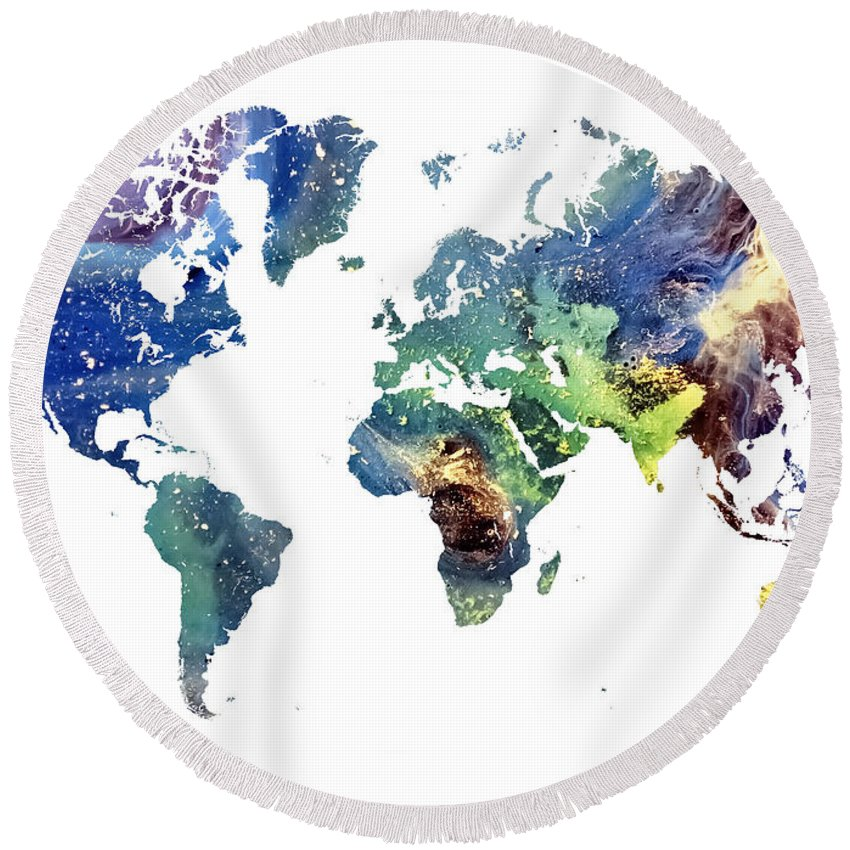 Map Of The World Round Beach Towel featuring the painting World Map Cosmos by Justyna JBJart