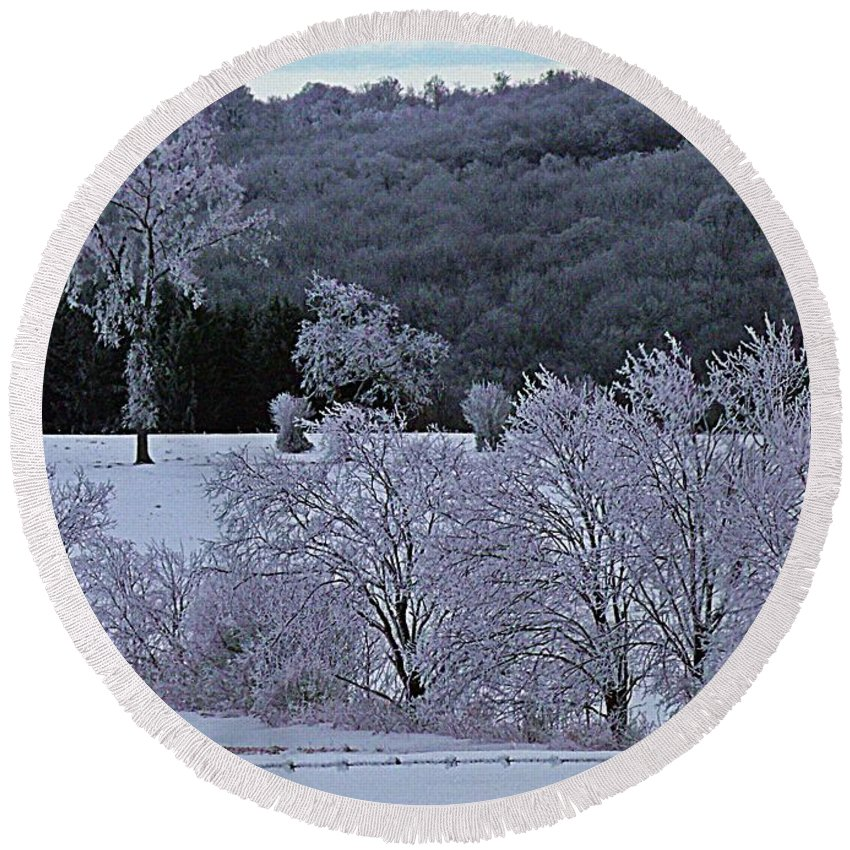 Winter Round Beach Towel featuring the photograph World Of Jack Frost by Christian Mattison