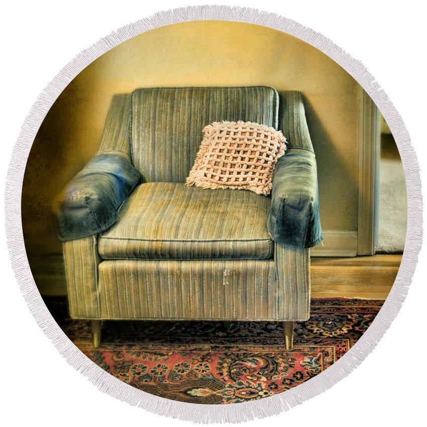 Easy Chair Round Beach Towel featuring the photograph Worn Chair By Doorway by Jill Battaglia